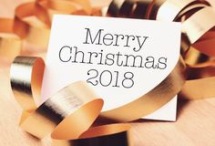 Merry Christmas 2018 with gold decoration royalty free stock image