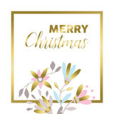 Merry christmas gold floral greeting card design Royalty Free Stock Photos