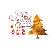 Merry christmas with gold geometrical tree greeting card Stock Photography