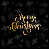 Merry Christmas gold glitter fir, pine cones pattern. Merry Christmas gold glitter gilding foil greeting card with  seamless chalk sketch pattern blackboard Royalty Free Stock Images