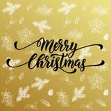Merry Christmas gold glitter fir, pine cones pattern. Merry Christmas gold greeting card with  seamless pattern background of golden fir branches, pine cones Stock Photos