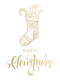 Merry Christmas gold glitter gift stocking. Merry Christmas gifts stocking. Gold glitter gilding sock ornament decoration, presents. Christmas greeting modern Royalty Free Stock Photos