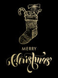 Merry Christmas gold glitter gift stocking. Merry Christmas gifts stocking. Gold glitter gilding sock ornament decoration, presents. Christmas greeting modern Royalty Free Stock Photo