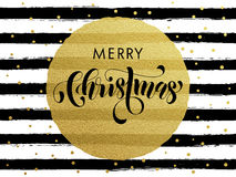 Merry Christmas gold glitter gilding greeting card. Merry Christmas gold glitter foil gilding greeting card. Vector black stripes, golden glittering circle ball Royalty Free Stock Images