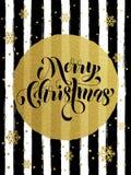 Merry Christmas gold glitter gilding greeting card. Merry Christmas gold glitter foil gilding greeting card. Vector black stripes, snowflakes, golden glittering Stock Photos