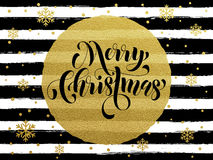 Merry Christmas gold glitter gilding greeting card. Merry Christmas gold glitter foil gilding greeting card. Vector black stripes, snowflakes, golden glittering Royalty Free Stock Photography