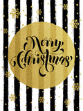 Merry Christmas gold glitter gilding greeting card. Merry Christmas gold glitter foil gilding greeting card. Vector black stripes, snowflakes, golden glittering Stock Photo
