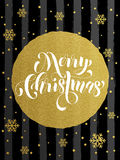 Merry Christmas gold glitter gilding greeting card. Merry Christmas gold glitter foil gilding greeting card. Vector black stripes, snowflakes, golden glittering Royalty Free Stock Photo