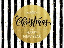 Merry Christmas gold glitter gilding greeting card. Merry Christmas, Happy New Year gold glitter foil gilding greeting card. Vector black stripes, golden Royalty Free Stock Photo