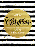 Merry Christmas gold glitter gilding greeting card. Merry Christmas, Happy New Year gold glitter foil gilding greeting card. Vector snowflakes, black stripes Royalty Free Stock Image