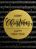 Merry Christmas gold glitter gilding greeting card. Merry Christmas, Happy New Year gold glitter foil gilding greeting card. Vector snowflakes, black stripes Stock Images