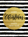 Merry Christmas gold glitter gilding greeting card. Merry Christmas, Happy New Year gold glitter foil gilding greeting card. Vector snowflakes, black stripes Royalty Free Stock Images