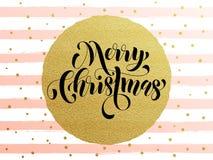 Merry Christmas gold glitter gilding greeting card. Merry Christmas gold glitter greeting card. Vector pink, white stripes, golden glittering circle ball Stock Photo
