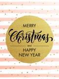 Merry Christmas gold glitter gilding greeting card. Merry Christmas gold glitter greeting card. Vector pink, white stripes, golden glittering circle ball Stock Image