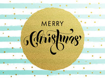 Merry Christmas gold glitter greeting card. Merry Christmas gold glitter gilding foil greeting card. Vector frosty stripes of winter snow frost with golden Stock Photo