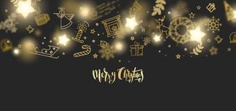 Merry Christmas gold glitter lettering design. Merry Christmas gold glitter lettering design on black background. Can be used as Christmas greeting card, poster Stock Photos