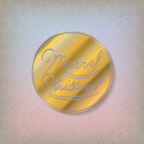 Merry Christmas gold glitter lettering. Merry Christmas lettering design gold logo. Vector Illustration Royalty Free Stock Image