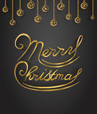 Merry Christmas gold glitter lettering. Design. Vector Illustration Stock Photography