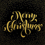 Merry Christmas gold glitter lettering greeting Stock Photo