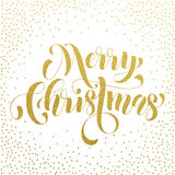 Merry Christmas gold glitter lettering greeting Royalty Free Stock Images