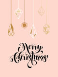 Merry Christmas gold glitter ornament card, poster. Merry Christmas gold glitter gilding geometric gem crystal ornaments decoration. Christmas greeting modern Stock Image
