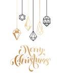 Merry Christmas gold glitter ornament card, poster. Merry Christmas gold glitter gilding geometric gem crystal ornaments decoration. Christmas greeting modern Royalty Free Stock Photos
