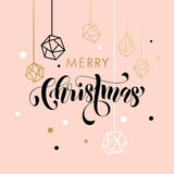 Merry Christmas gold glitter ornament card, poster. Merry Christmas gold glitter gilding geometric gem crystal ornaments decoration. Christmas greeting modern Stock Photos
