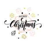 Merry Christmas gold glitter ornament card, poster. Merry Christmas gold glitter gilding geometric gem crystal ornaments decoration. Christmas greeting modern Stock Images