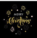 Merry Christmas gold glitter ornament card, poster. Merry Christmas gold glitter gilding geometric gem crystal ornaments decoration. Christmas greeting modern Royalty Free Stock Images