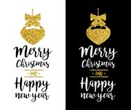 Merry Christmas gold glitter quote greeting card Stock Photography