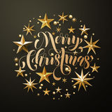 Merry Christmas gold glitter stars greeting card Royalty Free Stock Photo