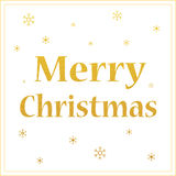 Merry christmas gold glittering design with snowflakes Royalty Free Stock Images