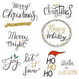 Merry Christmas gold glittering hand draw lettering design.   Stock Photo