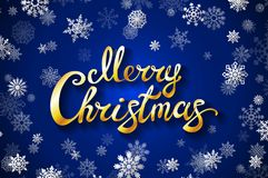 Merry Christmas gold glittering lettering design. blue background with white snowflake Vector illustration EPS 10. Art Stock Image