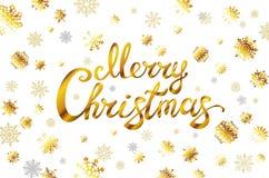 Merry Christmas gold glittering lettering design golden snowflakes. Vector illustration EPS 10. Art Stock Images