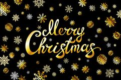 Merry Christmas gold glittering lettering design golden snowflakes.. Vector illustration EPS 10. Art Stock Photography