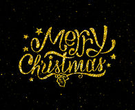 Merry Christmas gold glittering lettering design. Merry Christmas gold glittering hand lettering design template. Golden text with Christmas greetings on black Royalty Free Stock Photography