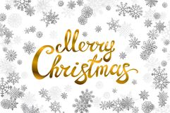 Merry Christmas gold glittering lettering design. snowflakes background Vector illustration EPS 10. Art Royalty Free Stock Photos