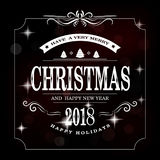 Merry Christmas gold glittering lettering design. Royalty Free Stock Photos