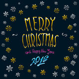 Merry Christmas gold glittering lettering design. Vector illustration EPS 10. Art Royalty Free Stock Photography