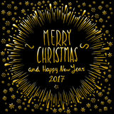 Merry Christmas gold glittering lettering design. Vector illustration EPS 10. Art Royalty Free Stock Photos