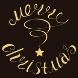 Merry Christmas gold glittering lettering design. Vector illustration EPS 10. Merry Christmas gold glittering lettering design stock illustration