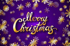 Merry Christmas gold glittering lettering design. violet background with golden snowflake Vector illustration EPS 10. Art Stock Images