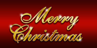 Merry Christmas Gold glossy logo Royalty Free Stock Photos