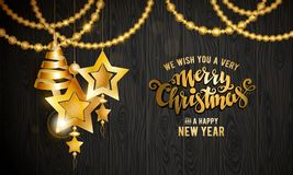Merry Christmas gold Royalty Free Stock Images