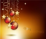 Merry Christmas gold greeting  card with red. Merry Christmas card with red bauble . Vector illustration Royalty Free Stock Photography