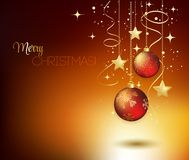 Merry Christmas gold greeting  card with red Royalty Free Stock Photo