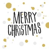 Merry Christmas with gold and grey dots Stock Photo