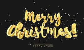 Merry Christmas gold lettering in 3d style and glitter decoration serpentine golden ribbons and confetti Stock Photos