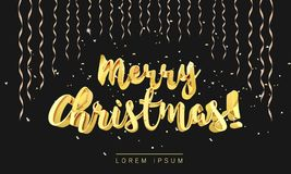 Merry Christmas gold lettering in 3d style and glitter decoration serpentine golden ribbons and confetti Stock Photo